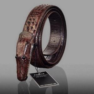 Other - Leather Alligator Belt & Buckle Brown Or Black